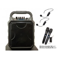 """PA 8"""" System XPA-E08-CB4 With Two (2) Wireless Handheld And Two (2) Wireless Headset Microphones"""