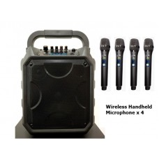 """PA 8"""" System XPA-E08-HH4 With Four (4) Wireless Handheld Microphones"""