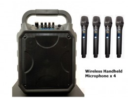 PA System with 4 Wireless Handheld Microphones